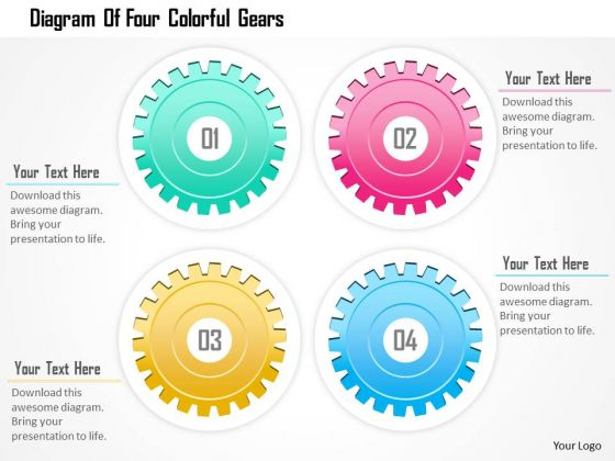 Business Diagram Of Four Colorful Gears Presentation Template
