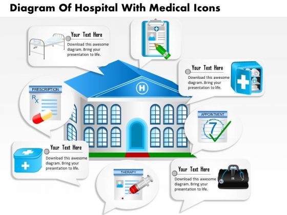Business Diagram Of Hospital With Medical Icons Presentation Template