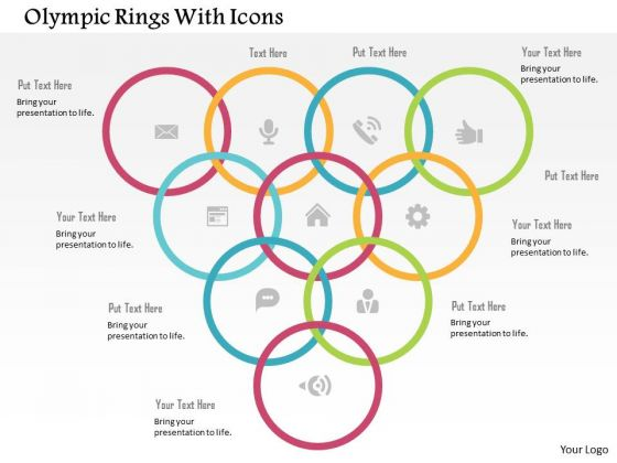 Business Diagram Olympic Rings With Icons Presentation Template
