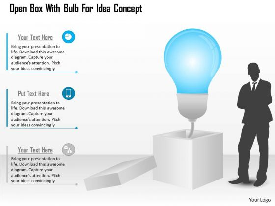 Business Diagram Open Box With Bulb For Idea Concept Presentation Template
