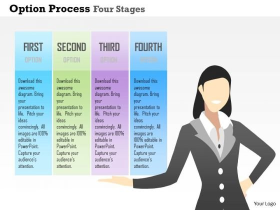 Business Diagram Option Process Four Stages Presentation Template