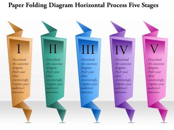 Business Diagram Paper Folding Diagram Horizontal Process Five Stages Presentation Template