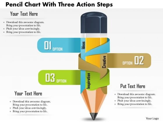 business diagram pencil chart with three action steps presentation