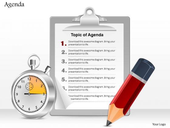 Business Diagram Pencil Clock And Notepad For Agenda Writing Presentation Template