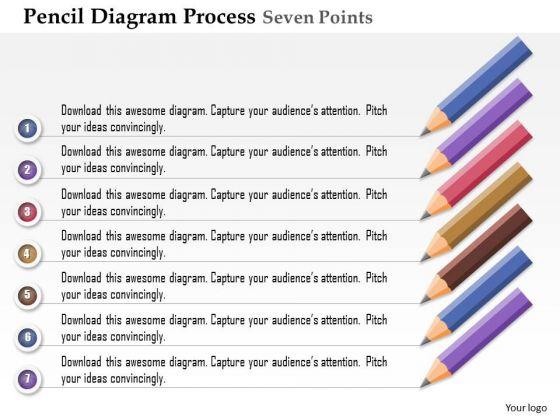 Business Diagram Pencil Diagram Process Seven Points Agenda Presentation Template