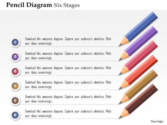 Business Diagram Pencil Diagram Six Stages Agenda Info Graphic Presentation Template