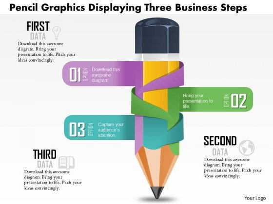 Business Diagram Pencil Graphics Displaying Three Business Presentation Template