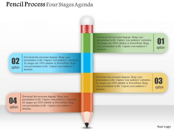 Business Diagram Pencil Process Four Stages Agenda Presentation Template