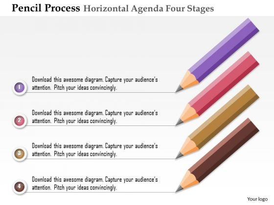 Business Diagram Pencil Process Horizontal Agenda Four Stages Presentation Template