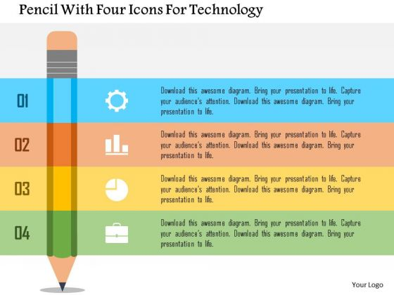 Business Diagram Pencil With Four Icons For Technology Presentation Template