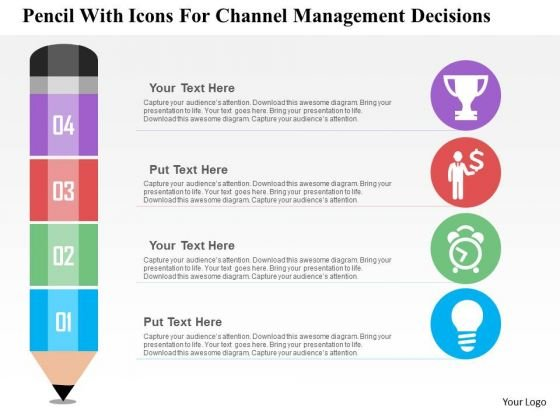 Business Diagram Pencil With Icons For Channel Management Decisions Presentation Template