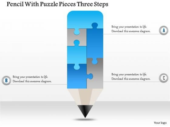 Business Diagram Pencil With Puzzle Pieces Three Steps Presentation Template