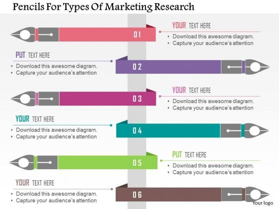 business diagram pencils for types of marketing research, Powerpoint templates