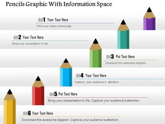 Business Diagram Pencils Graphic With Information Space Presentation Template