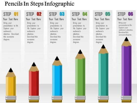 Business Diagram Pencils In Steps Infographic Presentation Template