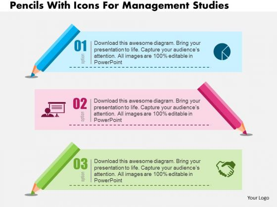 Business Diagram Pencils With Icons For Management Studies Presentation Template