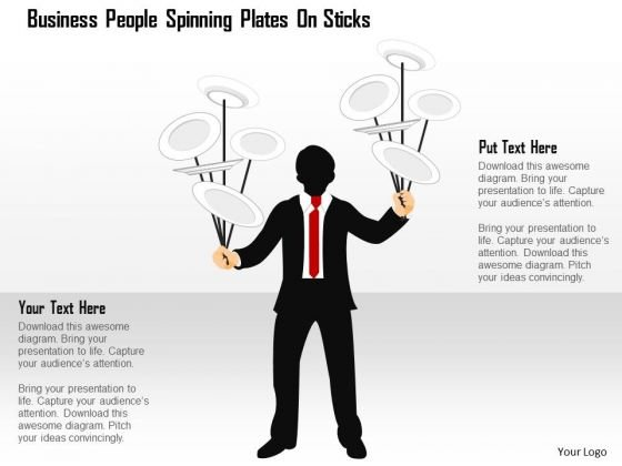 Business Diagram People Spinning Plates On Sticks Presentation Template