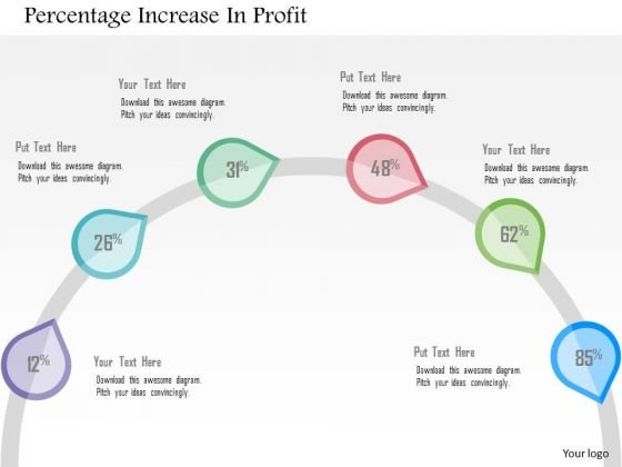 Business Diagram Percentage Increase In Profit Presentation Template