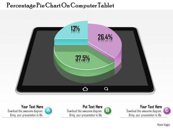 Business Diagram Percentage Pie Chart On Computer Tablet Presentation Template