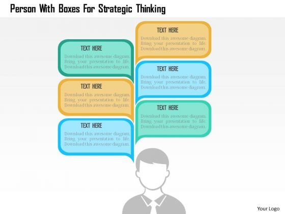 Business Diagram Person With Boxes For Strategic Thinking Presentation Template