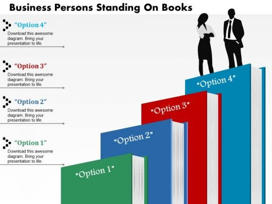 Business Diagram Persons Standing On Books Presentation Slide Template