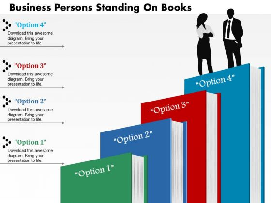 Business Diagram Persons Standing On Books Presentation Template
