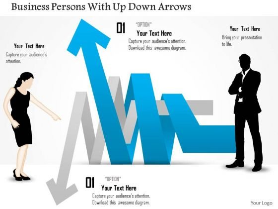 Business Diagram Persons With Up Down Arrows Presentation Template