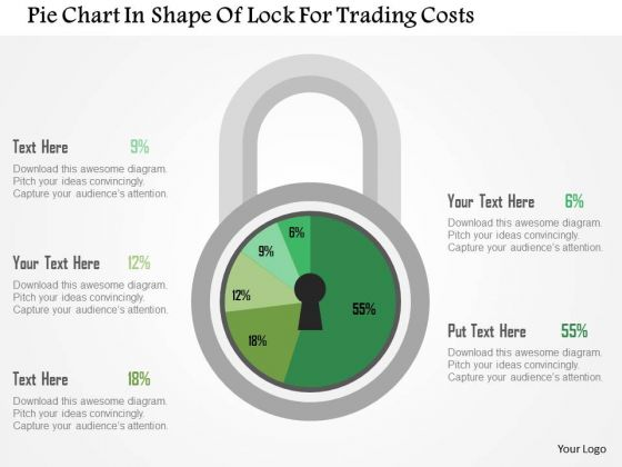Business Diagram Pie Chart In Shape Of Lock For Trading Costs Presentation Template