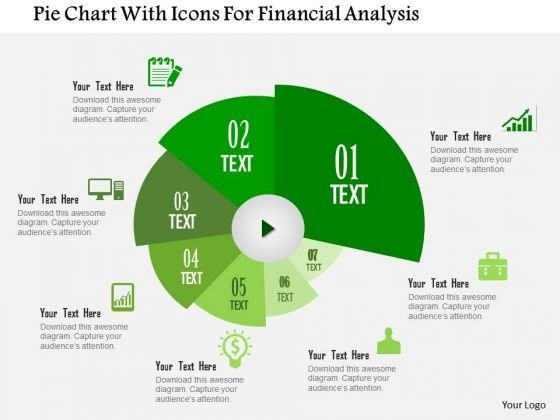 Business Diagram Pie Chart With Icons For Financial Analysis