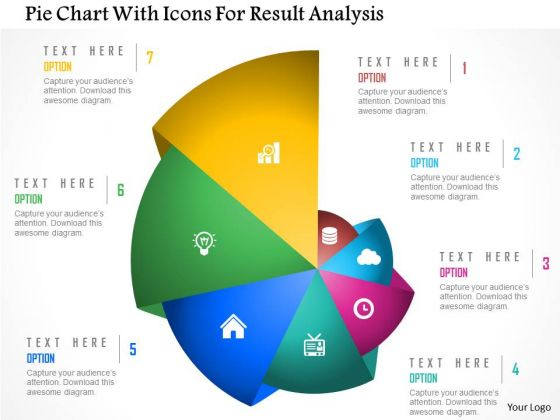 Business Diagram Pie Chart With Icons For Result Analysis Presentation Template