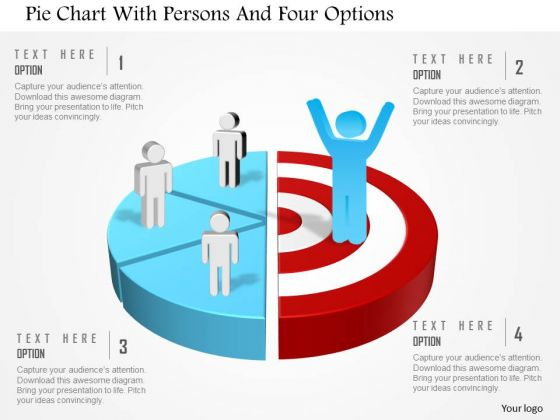 Business Diagram Pie Chart With Persons And Four Options Presentation Template