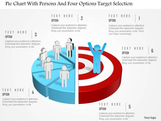 Business Diagram Pie Chart With Persons And Four Options Target Selection Presentation Template