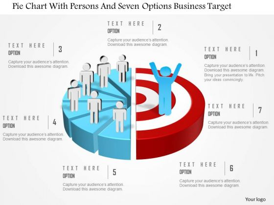 Business Diagram Pie Chart With Persons And Seven Options Business Target Presentation Template
