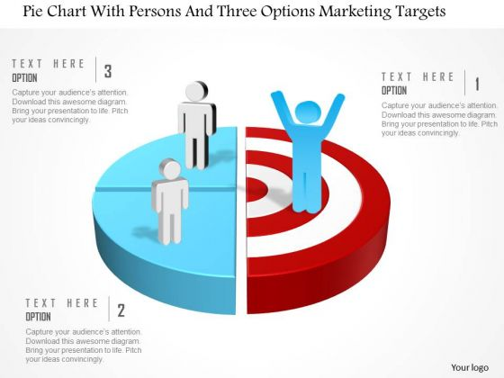 Business Diagram Pie Chart With Persons And Three Options Marketing Targets Presentation Template