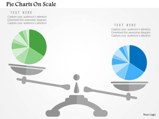 Business Diagram Pie Charts On Scale Presentation Template