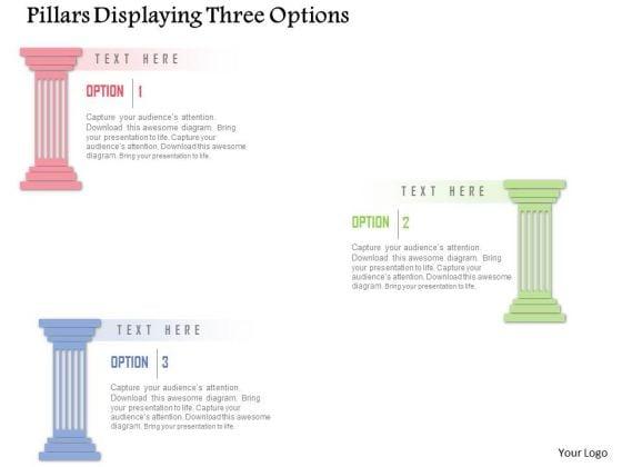Business Diagram Pillars Displaying Three Options Presentation Template
