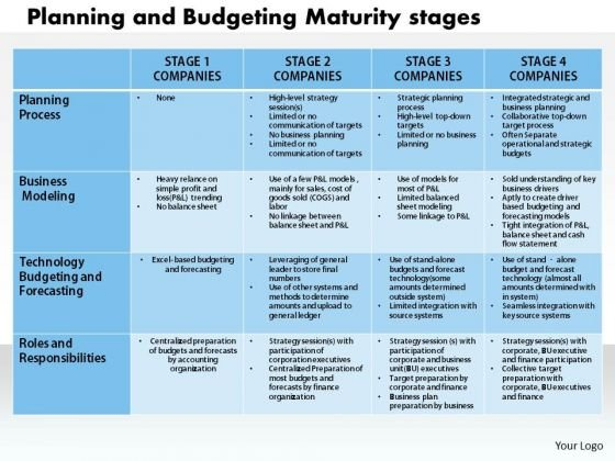 Business Diagram Planning And Budgeting Maturity Stage PowerPoint Ppt Presentation