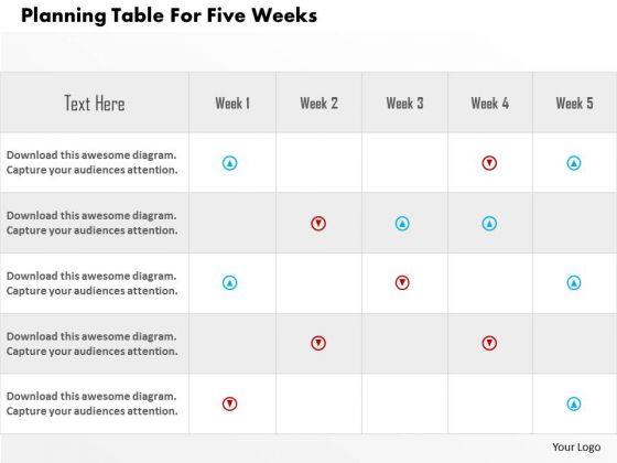 Business Diagram Planning Table For Five Weeks Presentation Template