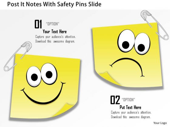 Business Diagram Post It Notes With Safety Pins Slide Presentation Template