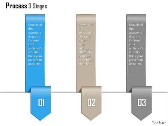 Business Diagram Process 3 Stages Agenda Diagram Presentation Template