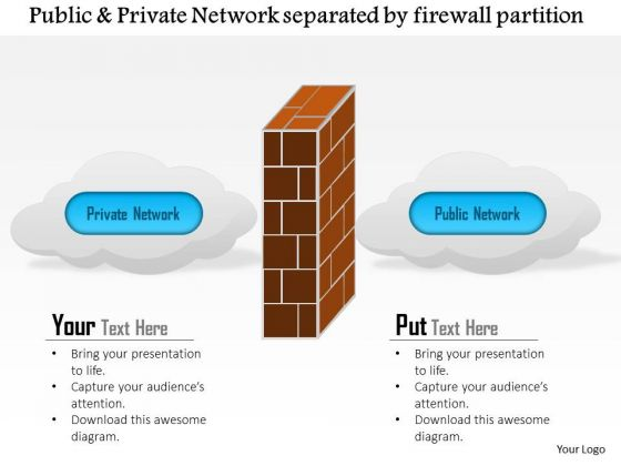 Business Diagram Public And Private Network Separated By A Firewall Partition Ppt Slide