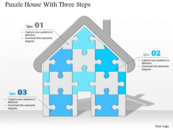 Business Diagram Puzzle House With Three Steps Image Slide Presentation Template