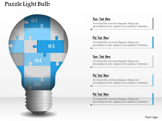Business Diagram Puzzle Light Bulb Presentation Template