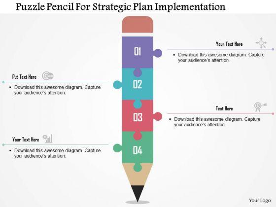 Business Diagram Puzzle Pencil For-strategic Plan Implementation Presentation Template