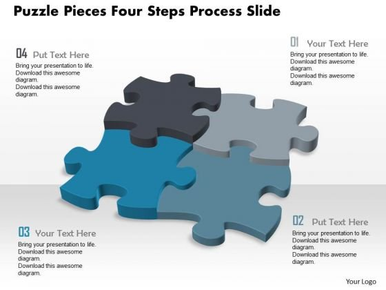 Business Diagram Puzzle Pieces Four Steps Process Slide Presentation Template
