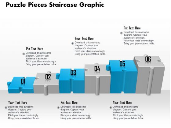 Business Diagram Puzzle Pieces Staircase Graphic Presentation Template