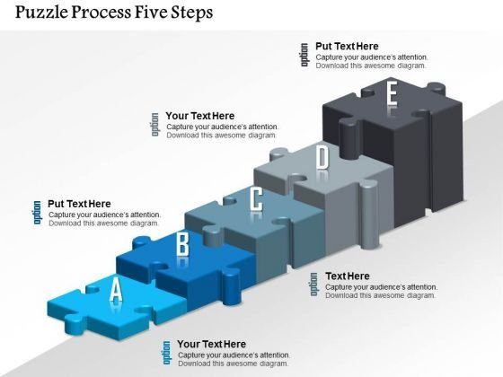 Business Diagram Puzzle Process Five Steps Presentation Template