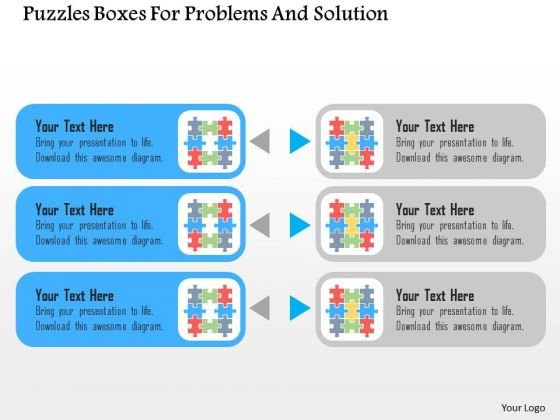 Business Diagram Puzzles Boxes For Problems And Solution