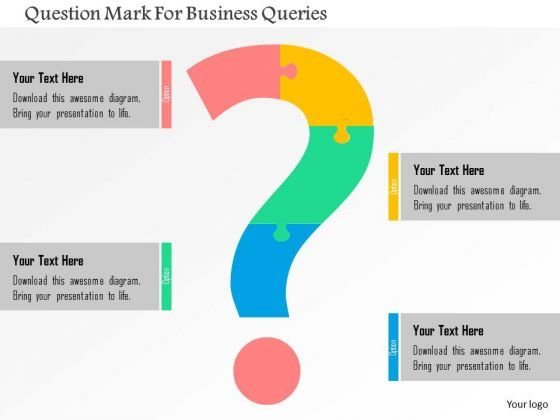 business diagram question mark for business queries presentation