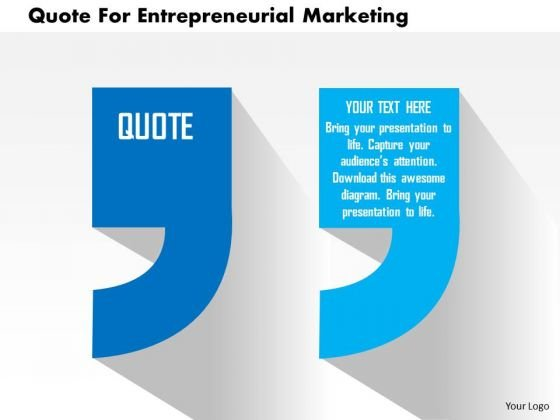 Business Diagram Quote For Entrepreneurial Marketing Presentation Template